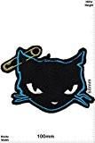 Patches - Cat - Cat with safety pin - blue - Oldschool - Rockabilly - Tatoo - Old School Punk ...