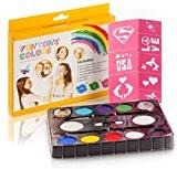 Peinture Enfant Kit de peinture de visage. Pochoir gratuit inclus.Utilisé pour la peinture de corps, les fêtes, Halloween ou les ...