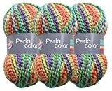 Perla Lot de 3pelotes de laine à tricoter et à crocheter 100g chacune Couleur multicolore (25)
