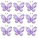 Phenovo Lot de 50pcs Papillons à Paillettes Accessoires Décorations pour Mariage Fête Artisanat 5x4,5cm (Violet)