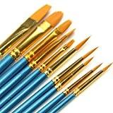 Pinceaux à peinture 10pinceaux artiste professionnel Peinture Pinceaux en nylon pour peinture acrylique Huile Aquarelle