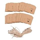 PIXNOR 100pcs Étiquettes en Carton Kraft Papier avec de la Ficelle pour Mariage