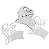 PIXNOR 50pcs Table nom Place carte pour verre à vin mariage Party Decoration (blanc)