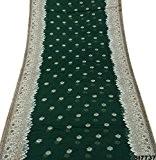 Polyester vintage indien Sari Patola Imprimé Vert Couture Wrap Bollywood DIY Drapé Wrap Veil Saree