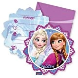 Procos 86919 Lot de 6 invitations avec enveloppes Disney La reine des neiges, multicolore
