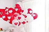 PuTwo Ballons de Baudruche en Motif Coeur Décoration de Fêtes Valentin Ballons Glonflables 12 Pouces Lot de 50 - Rouge/Blanc