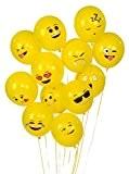 PuTwo Ballons de Baudruche en Motif de Emoji Latex Lot de 72 Décoration de Fêtes Anniversaire Ballons Glonflables Ronds -Jaune