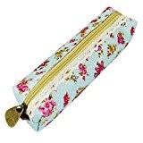 QHGstore Floral Pencil Case Multi-Fonction Pen Sac Pencil Box Case Coin Pouch vert