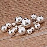 Qingsun 100pcs perles rondes en métal Argenté 3.2mm Idéal pour la fabrication de bracelets Bijou Accessoire