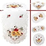 Quinnyshop Coquelicot Tournesol Broderie Chemin de table 40 x 90 cm Ovale Optique de satin, Blanc