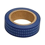 Ray - Masking tape en papier washi bleu marine à tortillons blancs