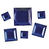 Rayher Hobby 1523510-en acrylique strass carrés, 6,10,14mm, sous blister 310stück, bleu foncé