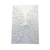 ROSENICE 10pcs Faire-Part Cartes d'Invitation de Mariage Motif de Ppapillon Fleur Blanc
