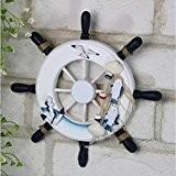 ROSENICE Capitaines de navire en bois roue bateau bateau volant méditerranéenne murale Decor (Type D) roue