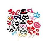 ROSENICE Photo Booth Accessoires Lunettes Drôles DIY Moustache Lèvres Rouges Chapeaux sur les Bâtons pour Mariage Noël Anniversaire Parties Decor ...