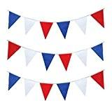 Rouge, Blanc et Bleu triangulaire en plastique fanions