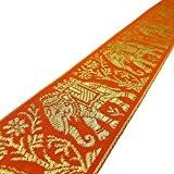 Ruban orange Jacquard Version indienne 4.3 cm Elephant Embroided Border Par The Yard