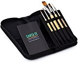 Santa Fe Art Supply Best Quality Artist Paintbrush Travel Set. Acrylic Oil Watercolor & Face Paint. Professional Short Handle Paint ...