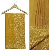 Saree indien vintage 100% coton pur brodé jaune Sari Usé tissu 5 yard