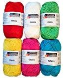 Schachenmayr catania lot de 6 pelotes de laine 50 g multicolore 14 x 100% coton solide 1 lot de 3 ...