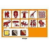 """Set de 10 tampons """"Afrique"""" + 3 encreurs : rouge, noir et jaune"""