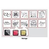 """Set de 10 tampons """"Mariage"""" + 3 encreurs : noir, rouge et or"""