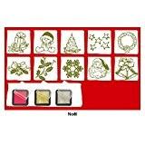 "Set de 10 tampons ""Noël Tradition"" + 3 encreurs : rouge, or et argent"