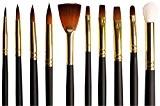 Set de Pinceaux pour Artiste de 10 Pinceaux Assortis Sur Mesure en Taklon Doré pour Peinture à l'Aquarelle, à l'Acrylique ...