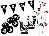 Set pour fête pirate (Alsino Set-1) lot de 19 accessoires: Guirlande , gobelets , pailles , ballon de baudruche Pour ...