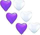 SHINA 50pcs, 28cm Coeur Balloon Pastel Assortiment de ballons pour l'anniversaire de soirée de mariage,violet et blanc