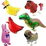 Signstek Set de 6 Ballons d'Animaux pour Décoration des Fêtes (Lapin, Cheval, Poussin, Dinosaure, Chien, Canard)