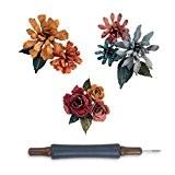 Sizzix 660227 Thinlits Set de 15 Matrices Motif Pequeñas Flores Andrajosas de Tim Holtz Multicolore