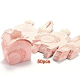 SODIAL(R) 50x Boite a Dragees couronne Mariage Bapteme ROSE Decoration table Fete Favor Box