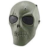 SODIAL(R) Crane Squelette Armee Airsoft Paintball BB Ganon Plein Visage Jeu Proteger Securite Masque (Vert)