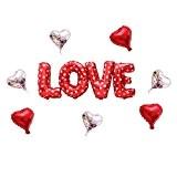 Souarts 1Set Ballon Gonflable Forme Cœur pour Fête Saint Valentin Mariage Fiançailles Décoration Love et 7pcs Cœur