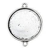 Souarts Couleur Argent vieilli Pendentif Connecteur pour Glass Cabochons Dome Rond de 25mmx25mm 50 PCS