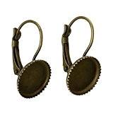 Souarts Couleur Bronze Boucles d'oreilles pour Glass Cabochons Dome Rond de 12mm x12mm 50 PCS