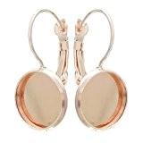 Souarts Couleur Dore Rose Boucles d'oreilles pour Glass Cabochons Dome Rond de 12mm x12mm 20 PCS