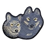 Souarts Écusson Brodé Patch Thermocollant Animal 2 Loups pr DIY Denim Fabric 5Pcs