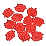 Souarts Écusson Brodé Patch Thermocollant Forme Rose pr DIY Denim Fabric Rouge 20Pcs