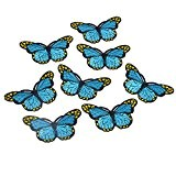 Souarts Écusson Brodé Patch Thermocollant Papillon Bleu pr DIY Denim Fabric 5PCS