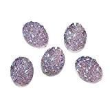 Souarts Lot de 20pcs Résine Cabochons Dome Glitter Ovale Violet Clair pr Scrapbooking DIY 18x13mm