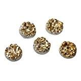 Souarts Lot de 50pcs Résine Cabochons Dome Glitter Rond Dore pr Scrapbooking DIY 10mm