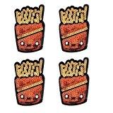 Souarts Lot de 5pcs Écusson Brodé Patch Thermocollant Sequins Frites pr DIY Denim Fabric 9x5.7cm