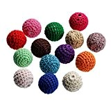 Souarts Lot de 5pcs Mixte Laine Acrylique Boules Perles Intercalaires Rond Multicolore 22mm