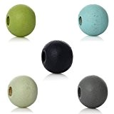 Souarts Mixte Boules Perles Artificielles Intercalaires en Bois Multicolore Lot de 1000pcs