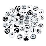 Souarts Mixte Glass Cabochons dome en Verre Motif Cage Rond pour Scrapbooking DIY Motif Aléatoire 12mm 10pcs