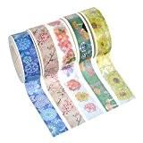 Souarts Mixte Ruban Adhésif d'emballage Décoratif en Papier Motif Fleurs 5 Rouleaux