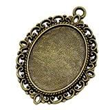 Souarts Pendentif pour Glass Cabochons dome Forme Ovale Couleur Bronze pr 25mm x18mm 10 PCS