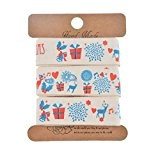 Souarts Ruban Coton Motif Style Noël pr Artisanat DIY Emballage Cadeau Beige 20mm 5yards 1Rouleau